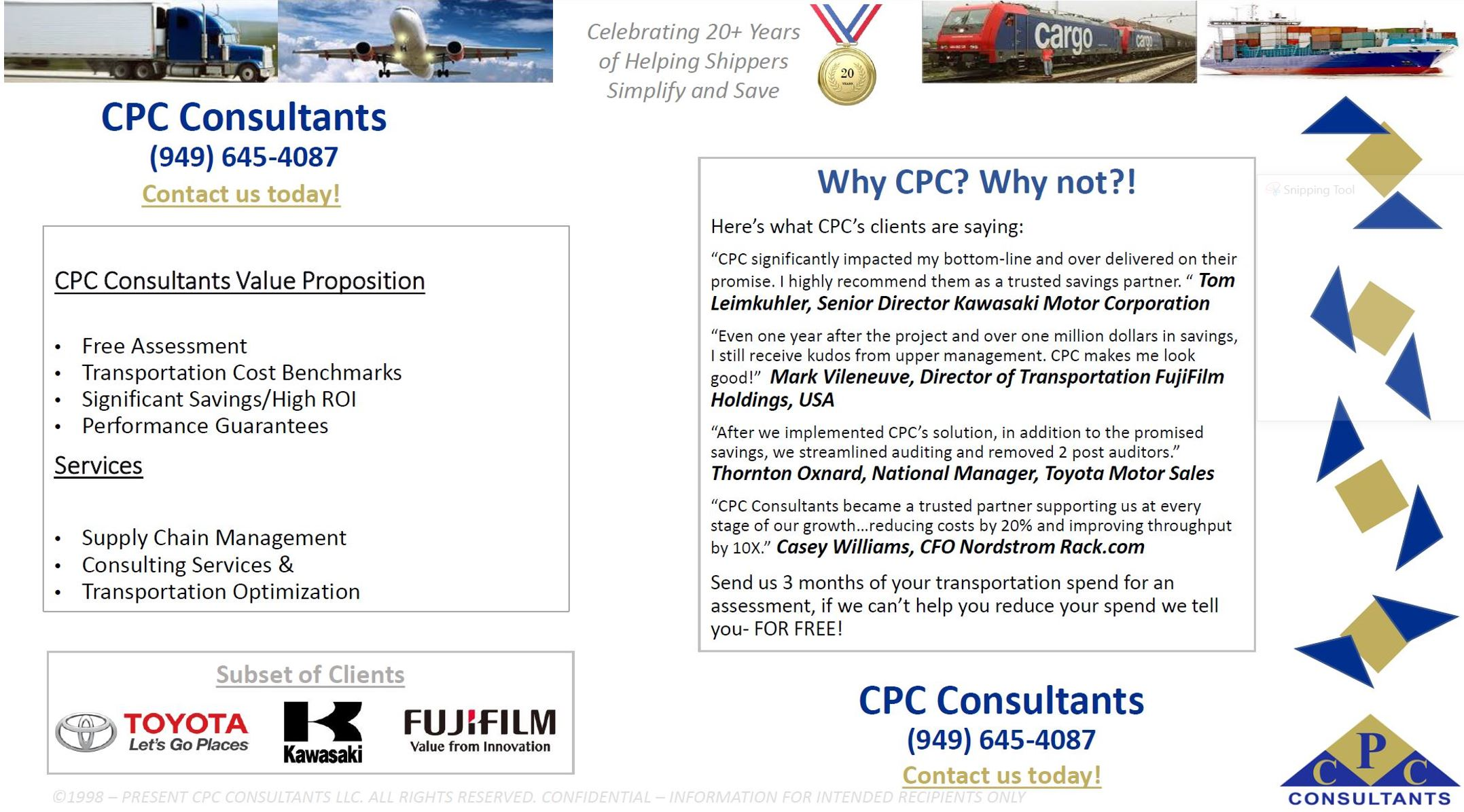 Client Testimonials - CPC Helping Shippers Simplify and Save